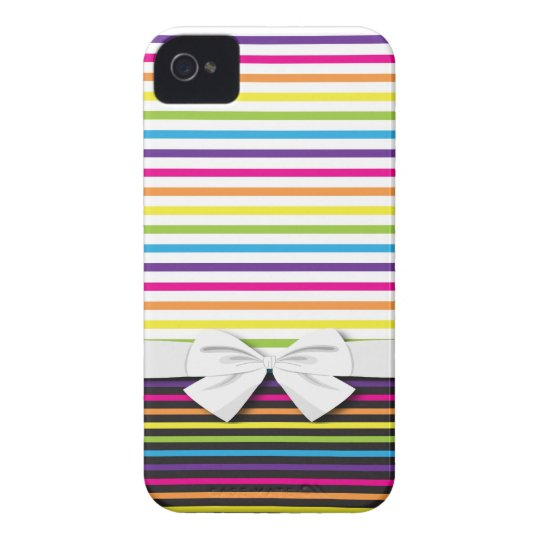 bright rainbow stripes pattern Case-Mate iPhone 4 cases