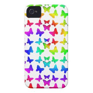 Bright Rainbow Swirl Butterflies iPhone 4 Case-Mate Cases