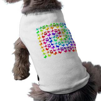 Bright Rainbow Swirl Butterflies Doggie Tshirt