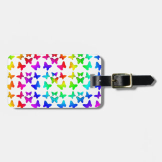 Bright Rainbow Swirl Butterflies Luggage Tag