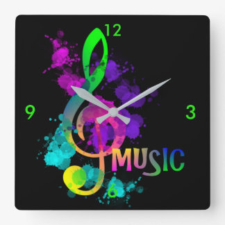 Bright Rainbow Treble Clef Music Paint Splatter Square Wall Clock