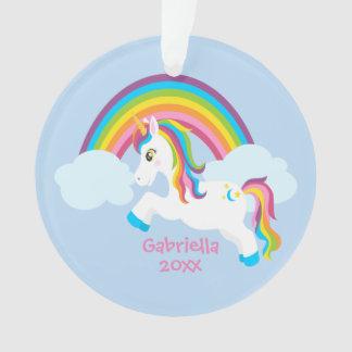 Bright Rainbow Unicorn Ornament