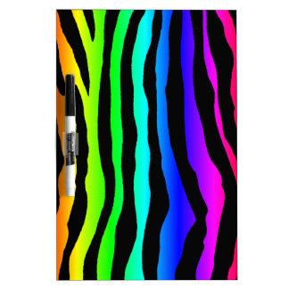 Bright Rainbow Zebra Stripes Dry Erase Board