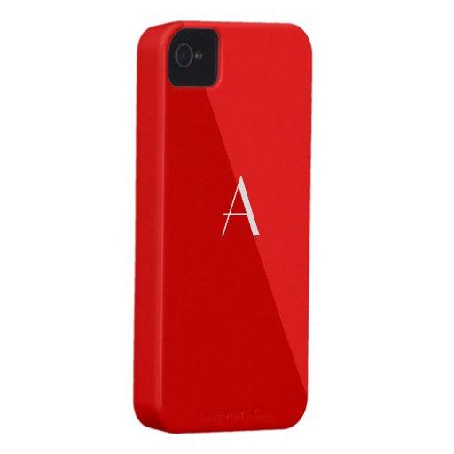 Bright Red 2-Tone iPhone4 Monogram Case iPhone 4 Case