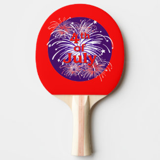 Bright Red 4th of July Fireworks Celebration Ping Pong Paddle