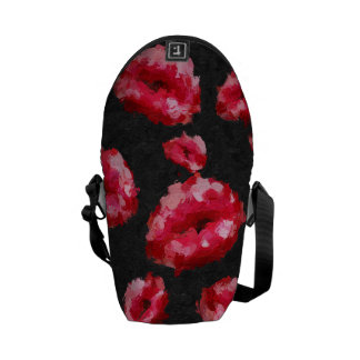 Bright Red Abstract Lips Messenger Bag