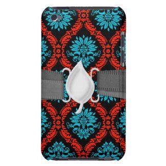 bright red and aqua blue black ornate damask iPod Case-Mate case