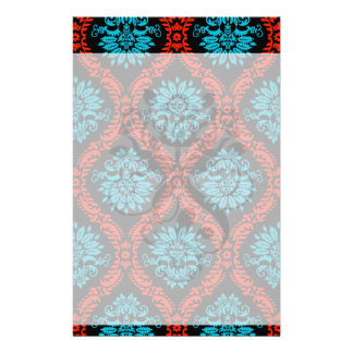 bright red and aqua blue black ornate damask personalised stationery