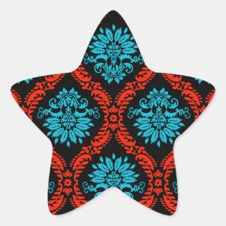 bright red and aqua blue black ornate damask star sticker