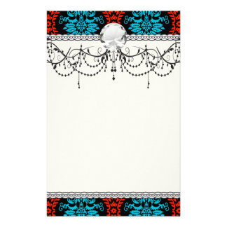 bright red and aqua blue black ornate damask custom stationery