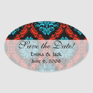 bright red and aqua blue black ornate damask oval sticker