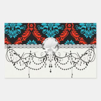 bright red and aqua blue black ornate damask rectangular stickers