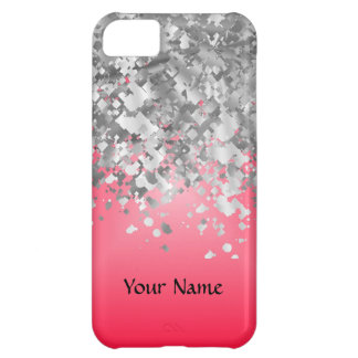 Bright red and faux glitter iPhone 5C case