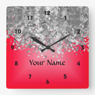 Bright red and faux glitter square wall clock