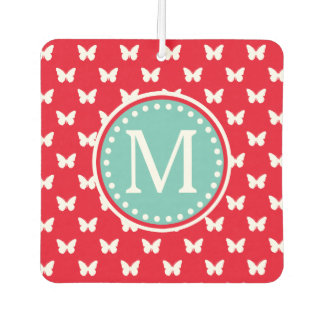 Bright Red and Light Teal Butterfly Monogram Car Air Freshener