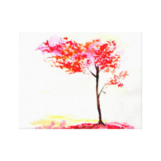 Bright red and orange foliage tree watercolour canvas print
