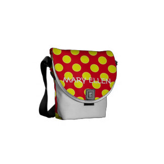 Bright red and Sunshine Yellow Polka Dot Courier Bags