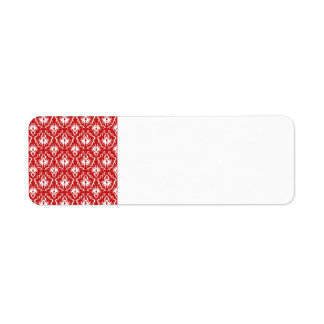Bright Red and White Damask Pattern.