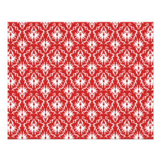 Bright Red and White Damask Pattern. 11.5 Cm X 14 Cm Flyer