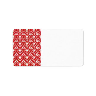 Bright Red and White Damask Pattern. Address Label