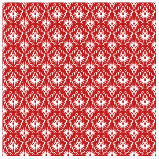 Bright Red and White Damask Pattern. Photo Sculptures