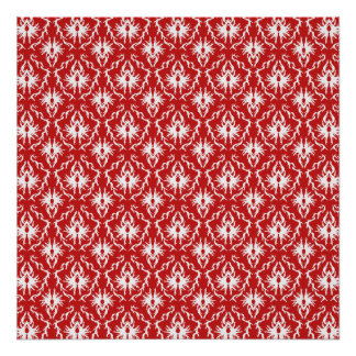 Bright Red and White Damask Pattern. Poster