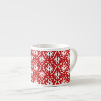 Bright Red and White Damask Pattern Espresso Cup