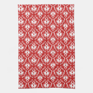 Bright Red and White Damask Pattern. Tea Towel