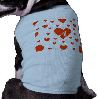 Bright Red and White Hearts Monogram Doggie Shirt