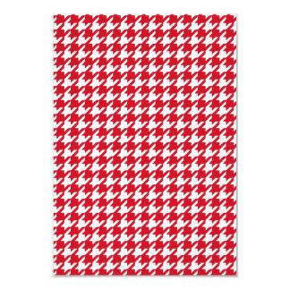 Bright Red and White Houndstooth Pattern 9 Cm X 13 Cm Invitation Card