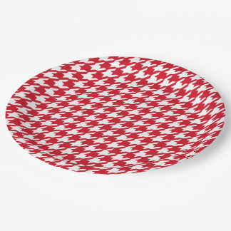 Bright Red and White Houndstooth Pattern Paper Plate
