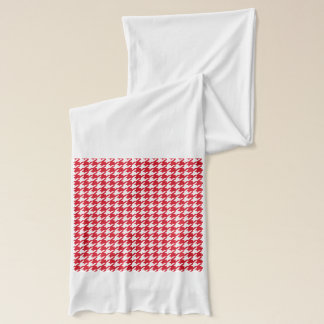 Bright Red and White Houndstooth Pattern Scarf
