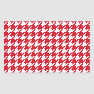 Bright Red and White Houndstooth Pattern Rectangular Sticker