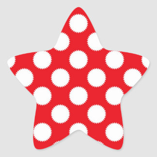 Bright Red and White Polka Dot Pattern Star Sticker