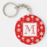 Bright Red and White Snowflakes Pattern 1 with Mon Basic Round Button Key Ring