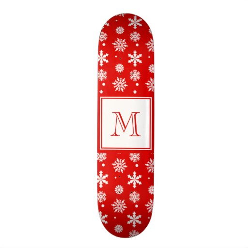 Bright Red and White Snowflakes Pattern 1 with Mon Skate Decks