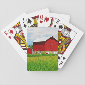 Bright Red Barns Playing Cards
