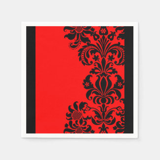 bright red baroque paper party napkins disposable serviette