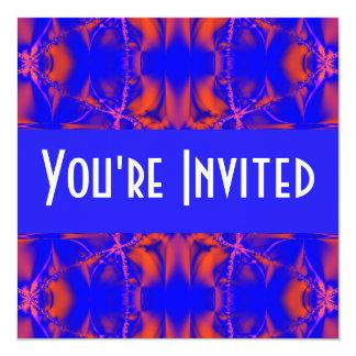 bright red blue 13 cm x 13 cm square invitation card