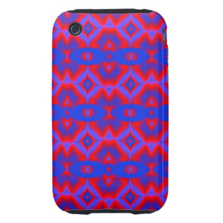 bright red blue fractal pattern tough iPhone 3 case
