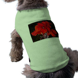 Bright Red Canna Lily Ribbed Tank Top Dog Tee