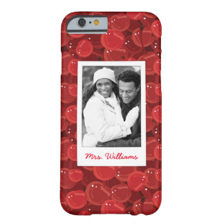 Bright Red Cherry Pattern | Add Your Photo Barely There iPhone 6 Case