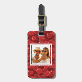 Bright Red Cherry Pattern | Add Your Photo Luggage Tag