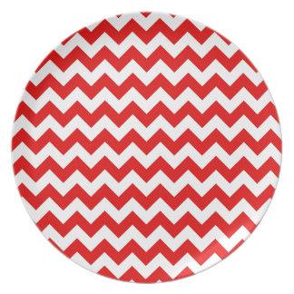 Bright Red Chevron Zig-Zag Pattern Plate