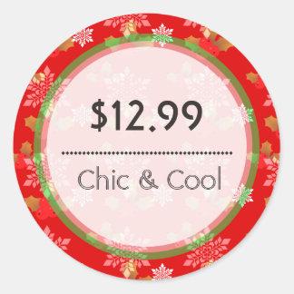 Bright Red Christmas Snowflakes Price Tag Round Sticker