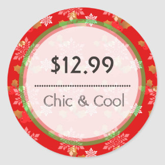Bright Red Christmas Snowflakes Price Tag Stickers