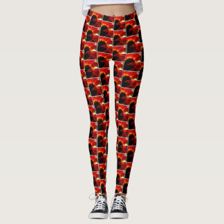 Bright red daisy flower close-up photo leggings