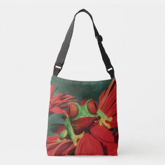 Bright Red-Eyed Frog Crossbody Bag