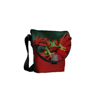 Bright Red-Eyed Frog Messenger Bags