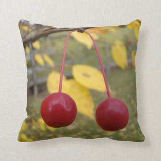 Bright Red Fall Crab Apples Cushion